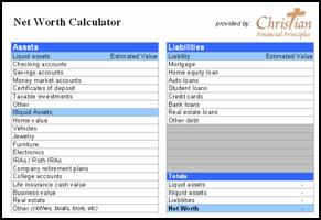 Printables Net Worth Worksheet Excel net worth worksheet christian financial principles